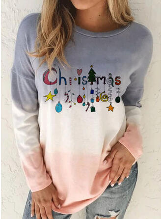 Christmas Color Block Letter Round Neck Long Sleeves T-shirts