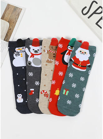 Estampado Natal/Meias de tornozelo Peúgas (Conjunto de 5)