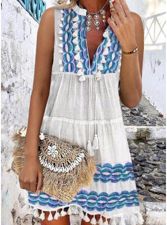 Print/Tassel Sleeveless Shift Above Knee Casual/Vacation Dresses