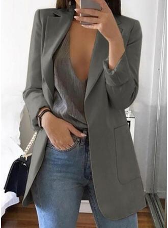 Polyester Long Sleeves Plain Blazers