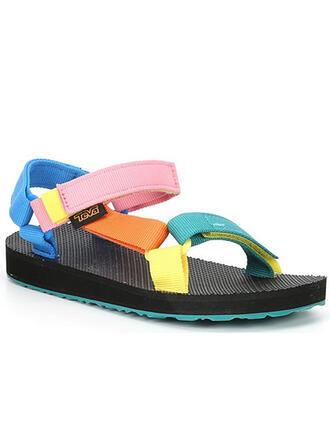 Femmes PU Talon plat Sandales À bout ouvert avec Ouvertes Velcro chaussures