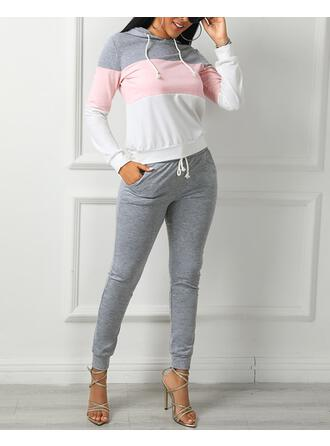 Hooded Long Sleeves Color Block Casual Top & Pants Sets