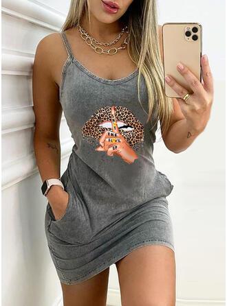Print/Leopard/Backless Sleeveless Bodycon Above Knee Casual Slip Dresses