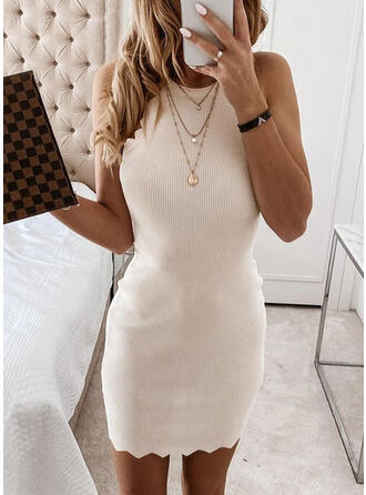 Solid Sleeveless Bodycon Above Knee Sexy Dresses