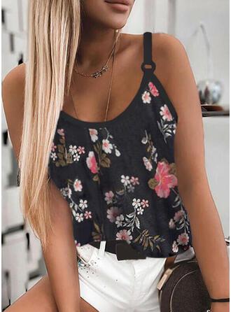 Floral Impresión Tirantes espagueti Sin mangas Camisetas sin mangas