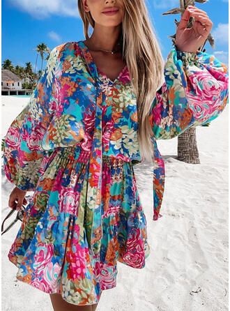 Print/Floral Long Sleeves/Lantern Sleeve A-line Above Knee Casual/Vacation Skater Dresses