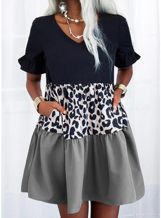 Color Block/Leopard Short Sleeves Shift Above Knee Casual Tunic Dresses
