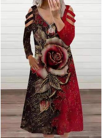 Imprimé/Fleurie Manches Longues manche épaule froide Coupe droite Tunique Décontractée Midi Robes