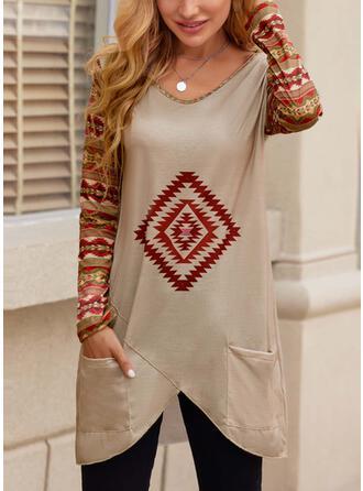 Geometric V-Neck Long Sleeves T-shirts