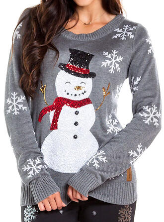 Women's Polyester Print Ugly Christmas Sweater