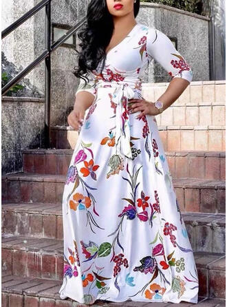 Plus Size Floral Print 3/4 Sleeves A-line Maxi Casual Elegant Dress