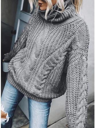 Sólido Punto De Cable Cuello De Tortuga Casuales Suéteres