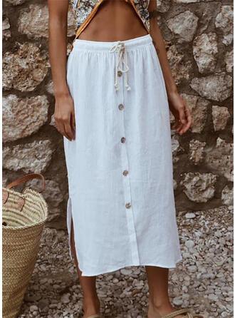 Cotton Linen Plain Mid-Calf Pencil Skirts