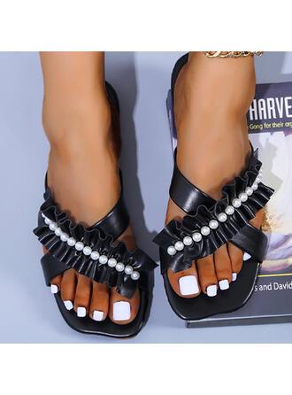 Femmes PU Talon plat Sandales Chaussures plates À bout ouvert Chaussons avec Perle d'imitation Plissé chaussures