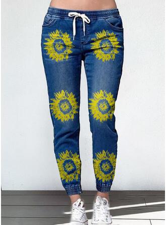 Floral Plus Size Drawstring Casual Plain Denim & Jeans