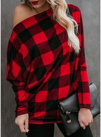 Plaid One Shoulder Long Sleeves Dropped Shoulder Casual Blouses