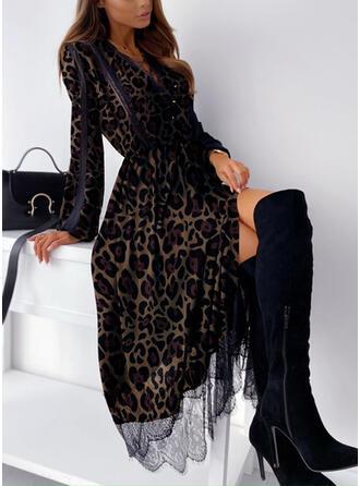 Lace/Leopard Long Sleeves A-line Skater Elegant Midi Dresses