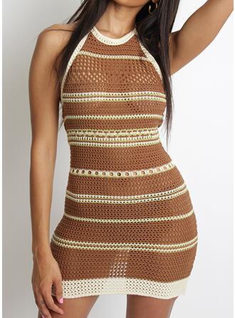 Striped Round Neck Sexy Sweater Dress