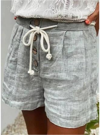 Couleur Unie Au-dessus du genou Décontractée Vacances Grande taille Bourré Cordon Boutons Pantalon Short