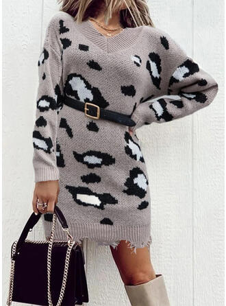 Leopard Knit Long Sleeves Dropped Shoulder Bodycon Above Knee Casual Sweater Dresses
