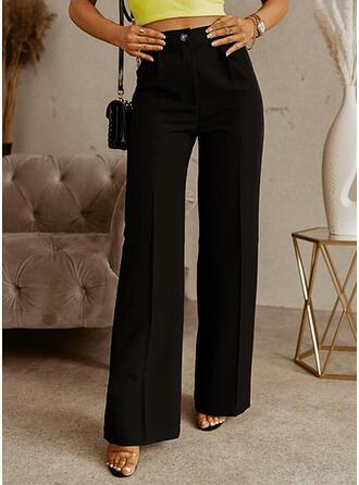 Couleur Unie Longue Ancien Grande taille Bureau / Affaires Boutons Pantalons de détente