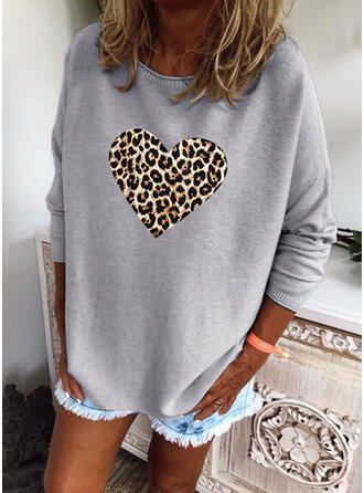 Leopard Heart Round Neck Casual Sweaters