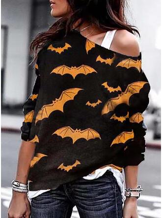 Halloween Print Animal One Shoulder Long Sleeves Sweatshirt