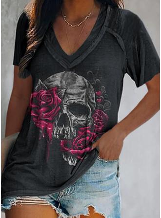 Floral Corazón Impresión Cuello en V Manga Corta Camisetas