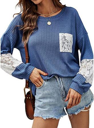 Sólido Cuello Redondo Manga Larga Camisetas