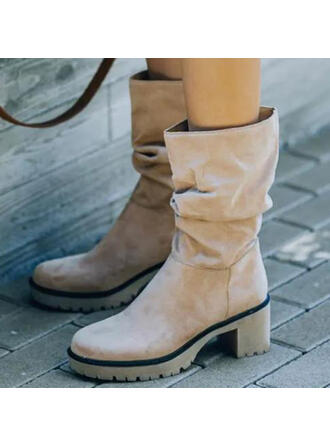 Femmes Suède Talon bottier Bottes avec Couleur unie chaussures