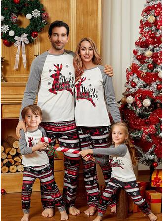 Colorido Deer Xadrez Carta Estampado Família Combinando Natal Pijama