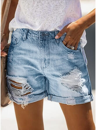 Couleur Unie Au-dessus du genou Décontractée Ancien Grande taille Poche déchiré Boutons Pantalon Short Jeans