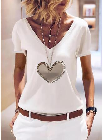 Cœur Imprimé Paillettes Col V Manches Courtes T-shirts