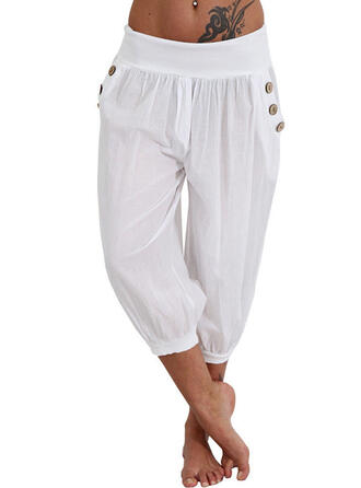 Solid Cropped Casual Solid Pants