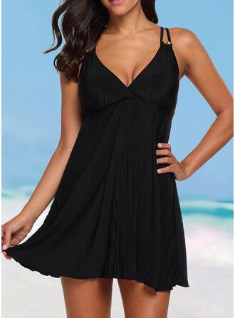 Sólido Cinta Decote em V Elegante Tamanho positivo Casual Vestido de praia Maiôs