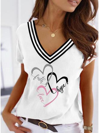 Heart Print Letter V-Neck Short Sleeves T-shirts