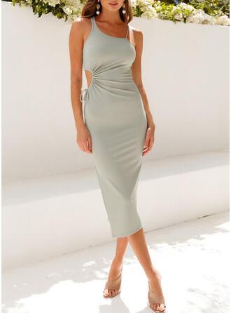 Solid Sleeveless Sheath Sexy Midi Dresses