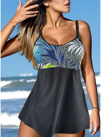 Print Strap U-Neck Classic Casual Swimdresses Swimsuits