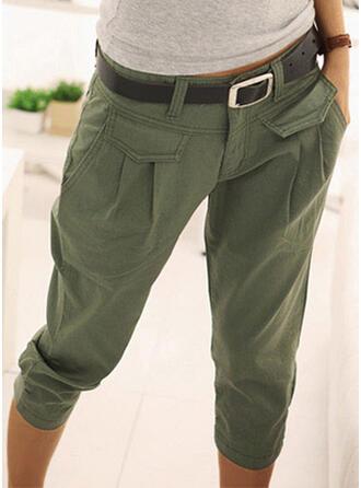 Solid Cotton Capris Casual Sporty Pocket Lounge Pants