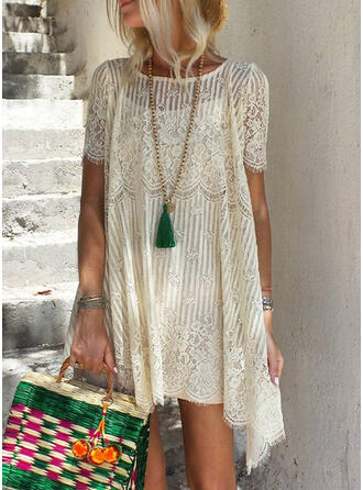 Lace/Solid Short Sleeves Shift Above Knee Vacation Tunic Dresses