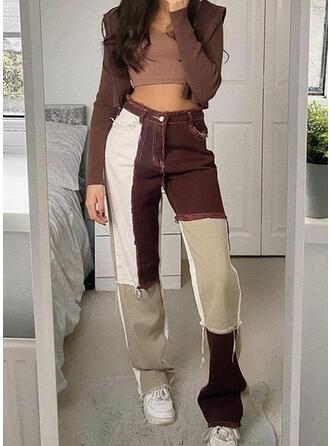 Denim Long Casual Stitching Denim & Jeans