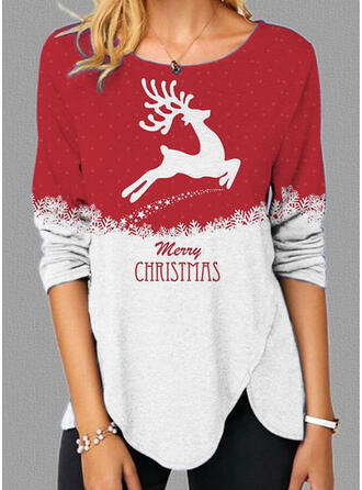 Christmas Color Block Print Letter Reindeer Round Neck Long Sleeves T-shirts