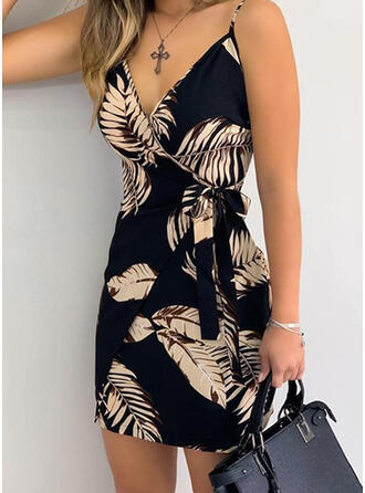 Print Sleeveless Sheath Above Knee Sexy/Vacation Wrap/Slip Dresses