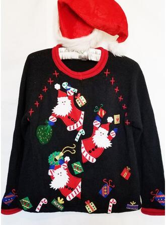 Mulheres Estampado Papai Noel Camisola de Natal Feio