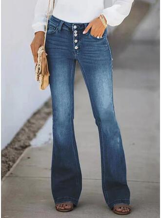 Sólido Algodão Grandes Elegante Vintage Bolso Button Calças Jeans