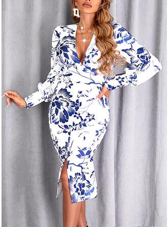 Print/Floral Long Sleeves Puff Sleeve Sheath Knee Length Elegant Dresses