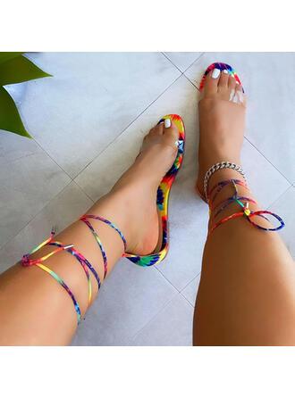 Femmes Tissu Talon plat Sandales À bout ouvert avec Bowknot Couleur unie chaussures