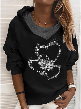 Heart Sequins Long Sleeves Hoodie