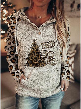 Christmas Print Leopard Letter Long Sleeves Christmas Sweatshirt