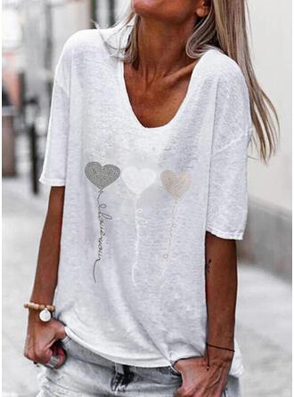 Heart Print Letter V-Neck 1/2 Sleeves T-shirts